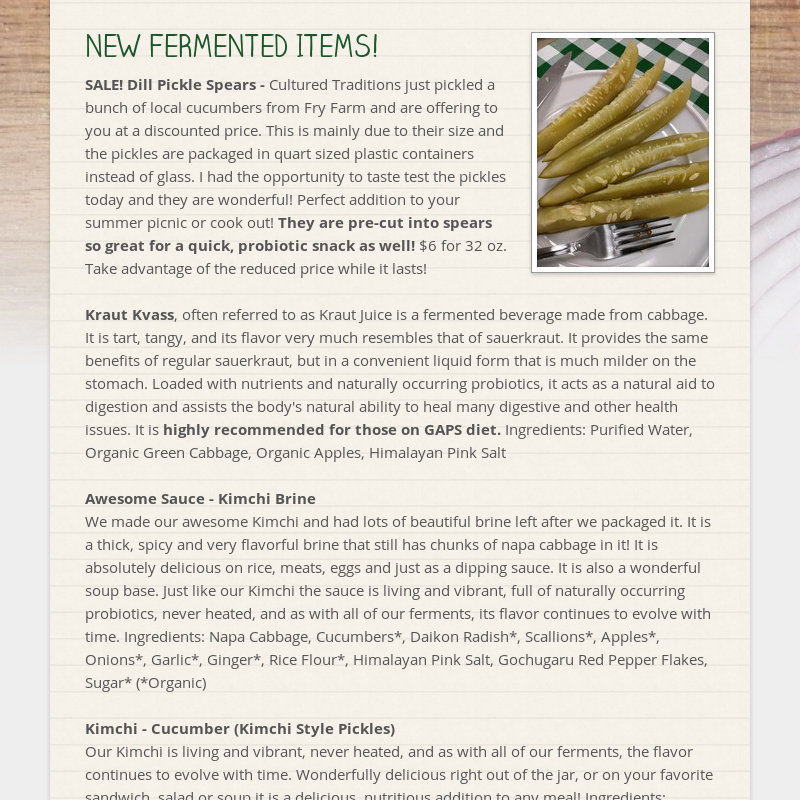 NEW FERMENTED ITEMS! SALE! Dill Pickle Spears - Cultured Traditions just pickled a bunch of local...