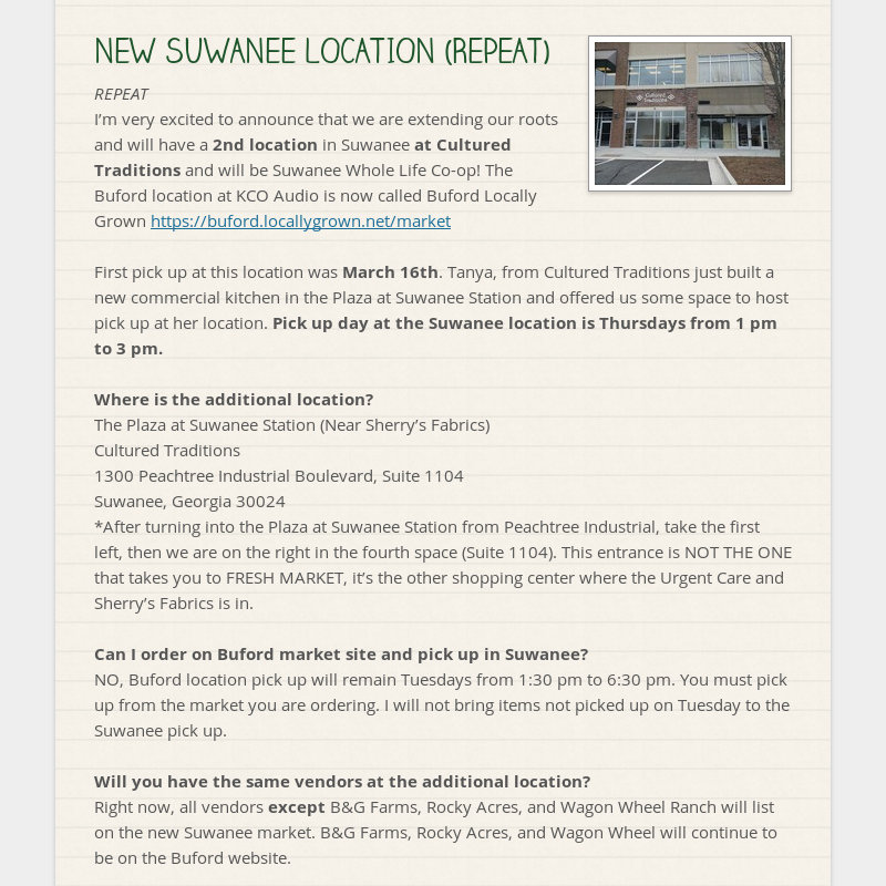 NEW SUWANEE LOCATION (REPEAT) REPEAT I'm very excited to announce that we are extending our roots...