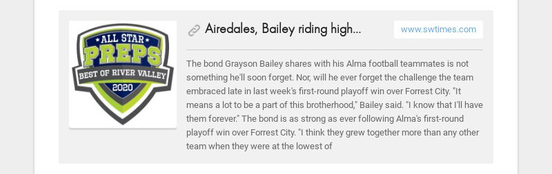 Airedales, Bailey riding high following upset of Forrest City