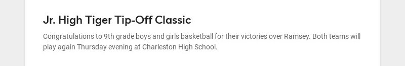 Jr. High Tiger Tip-Off Classic