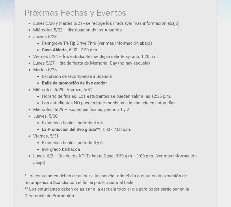 Próximas Fechas y Eventos Lunes 5/20 y martes 5/21 - se recoge los iPads (ver más información...