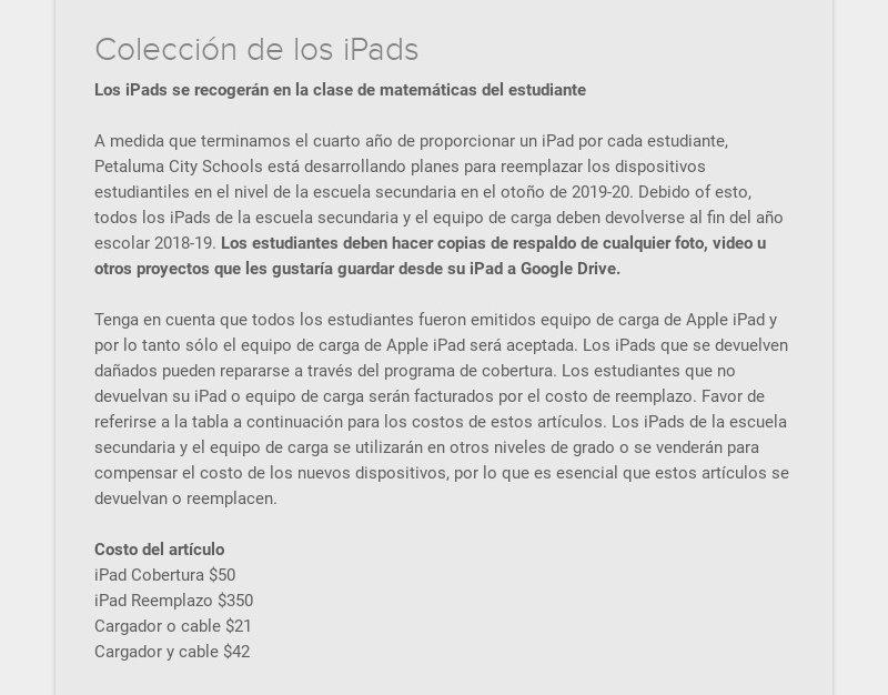Colección de los iPads Los iPads se recogerán en la clase de matemáticas del estudiante A medida...