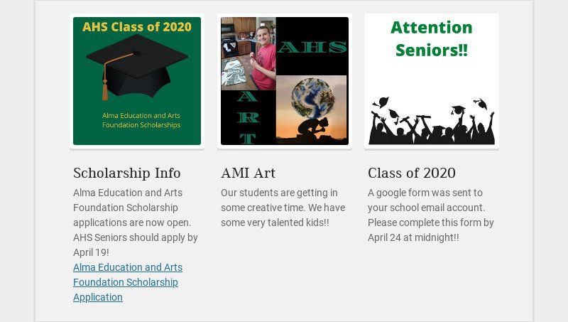 Scholarship Info Alma Education and Arts Foundation Scholarship applications are now open. AHS...
