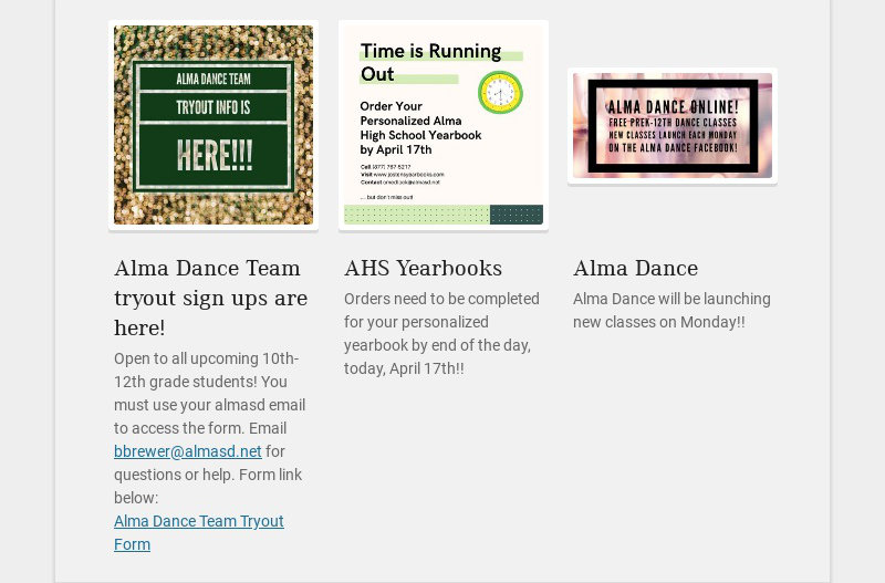 Alma Dance Team tryout sign ups are here! Open to all upcoming 10th-12th grade students! You must...