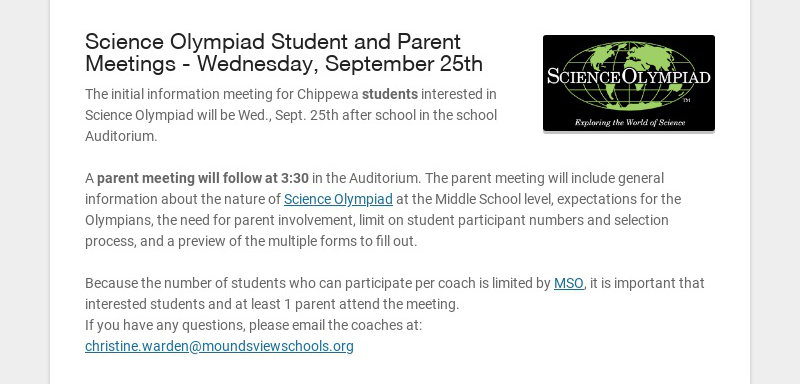 Science Olympiad Student and Parent Meetings - Wednesday, September 25th