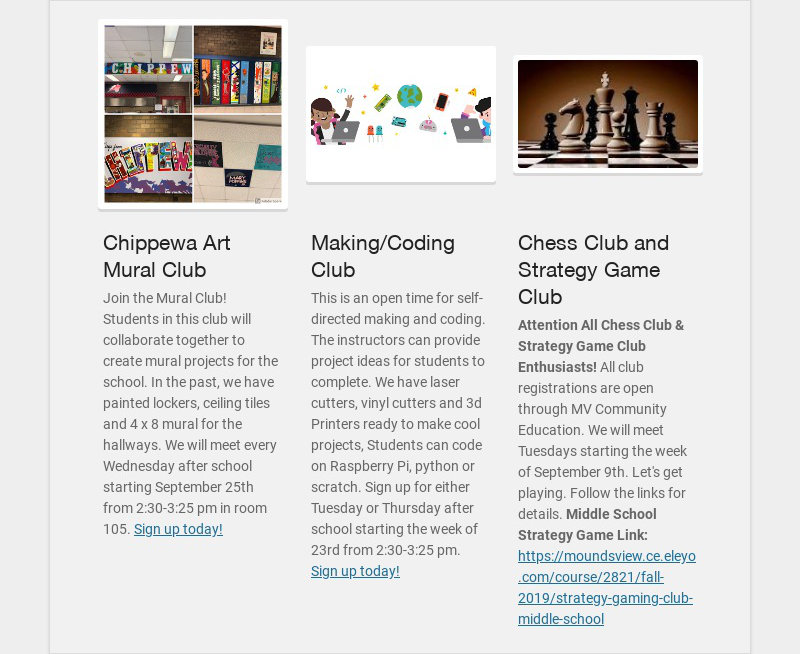 Chippewa Art Mural Club Join the Mural Club! Students in this club will collaborate together to...