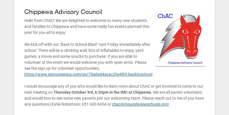 Chippewa Advisory Council Hello from ChAC! We are delighted to welcome so many new students and...