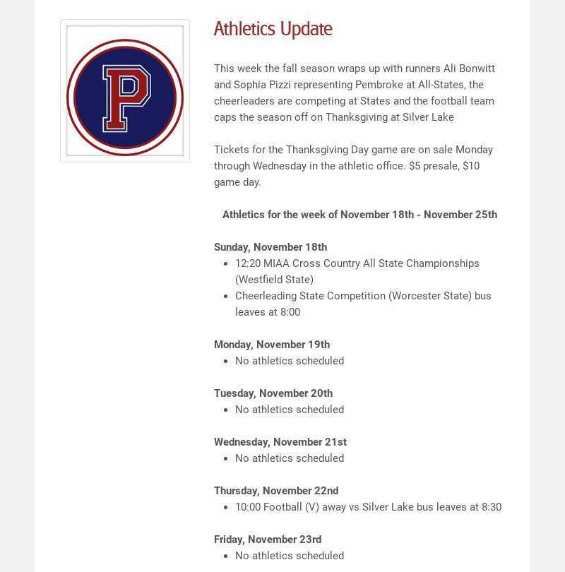Athletics Update This week the fall season wraps up with runners Ali Bonwitt and Sophia Pizzi...