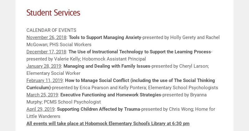 Student Services CALENDAR OF EVENTS November 26, 2018: Tools to Support Managing Anxiety-...