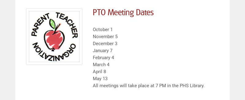 PTO Meeting Dates October 1 November 5 December 3 January 7 February 4 March 4 April 8 May 13...