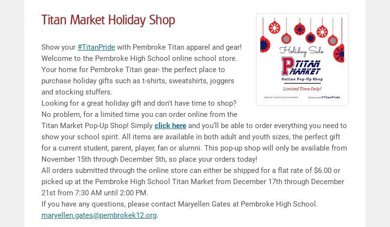 Titan Market Holiday Shop Show your #TitanPride with Pembroke Titan apparel and gear! Welcome to...