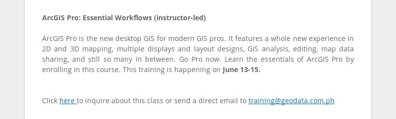 ArcGIS Pro: Essential Workflows (instructor-led) ArcGIS Pro is the new desktop GIS for modern GIS...
