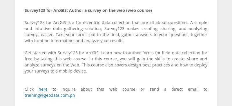 Survey123 for ArcGIS: Author a survey on the web (web course) Survey123 for ArcGIS is a form-centric...