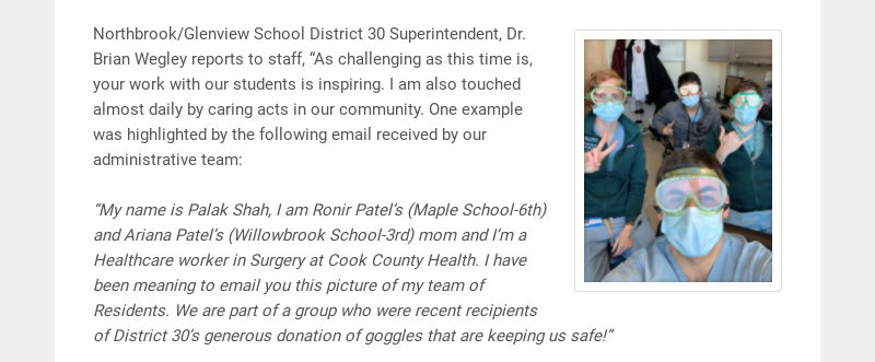 """Northbrook/Glenview School District 30 Superintendent, Dr. Brian Wegley reports to staff, """"As..."""