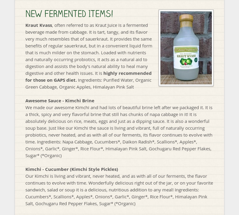 NEW FERMENTED ITEMS! Kraut Kvass, often referred to as Kraut Juice is a fermented beverage made from...