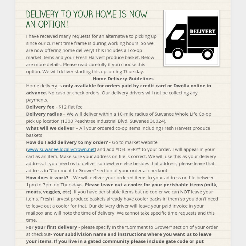 DELIVERY TO YOUR HOME IS NOW AN OPTION! I have received many requests for an alternative to picking...