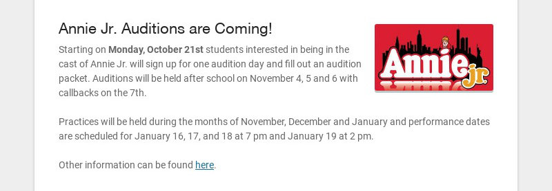 Annie Jr. Auditions are Coming!