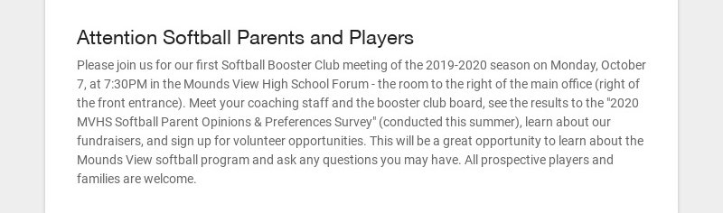 Attention Softball Parents and Players