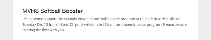 MVHS Softball Booster