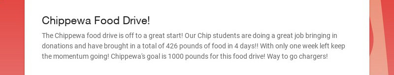 Chippewa Food Drive!