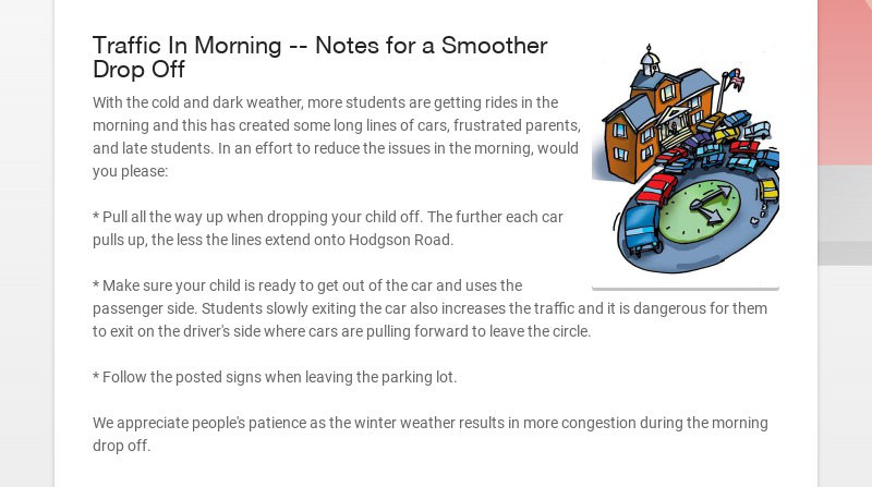 Traffic In Morning -- Notes for a Smoother Drop Off