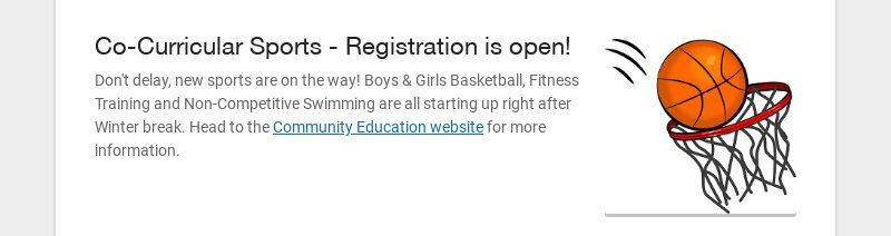 Co-Curricular Sports - Registration is open!