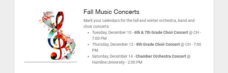 Fall Music Concerts
