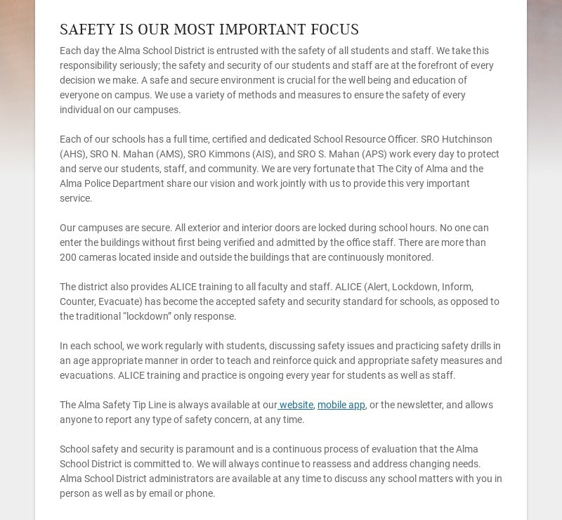 SAFETY IS OUR MOST IMPORTANT FOCUS