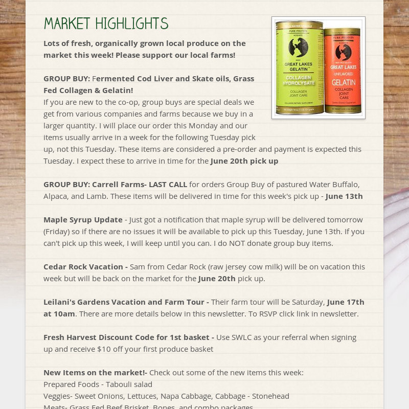 MARKET HIGHLIGHTS Lots of fresh, organically grown local produce on the market this week! Please...