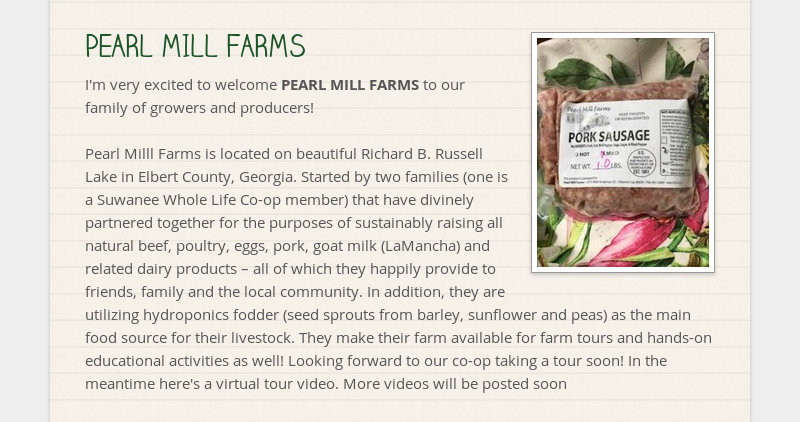 PEARL MILL FARMS I'm very excited to welcome PEARL MILL FARMS to our family of growers and...