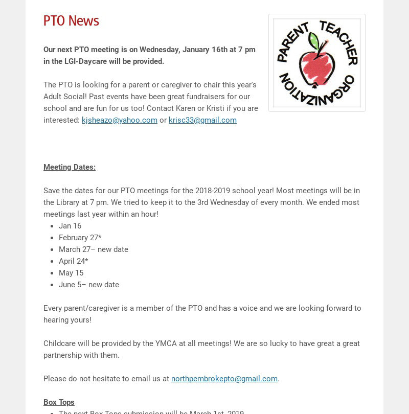 PTO News Our next PTO meeting is on Wednesday, January 16th at 7 pm in the LGI-Daycare will be...