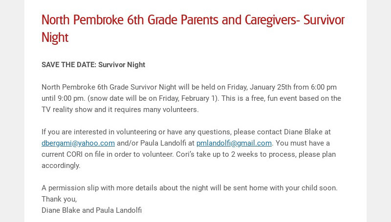 North Pembroke 6th Grade Parents and Caregivers- Survivor Night