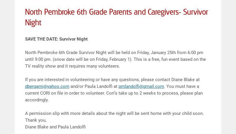 North Pembroke 6th Grade Parents and Caregivers- Survivor Night SAVE THE DATE: Survivor Night...