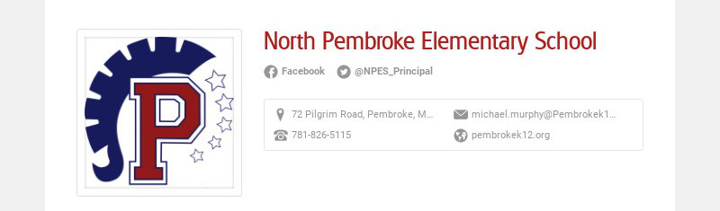 North Pembroke Elementary School Facebook @NPES_Principal 72 Pilgrim Road, Pembroke, MA, USA...
