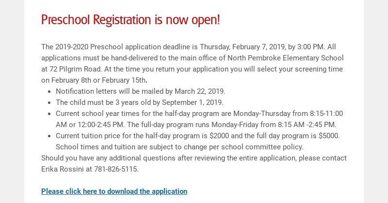 Preschool Registration is now open! The 2019-2020 Preschool application deadline is Thursday,...
