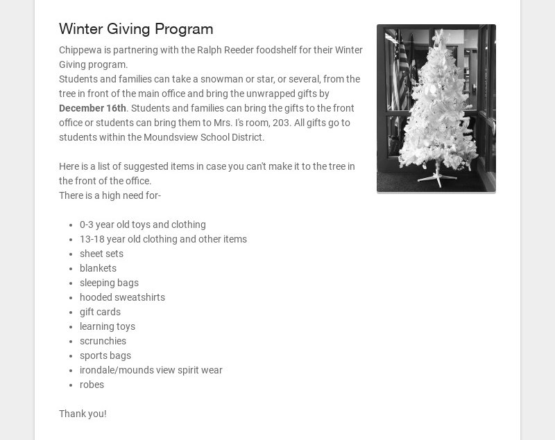 Winter Giving Program Chippewa is partnering with the Ralph Reeder foodshelf for their Winter...