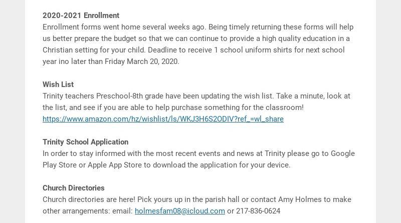 2020-2021 Enrollment Enrollment forms went home several weeks ago. Being timely returning these...