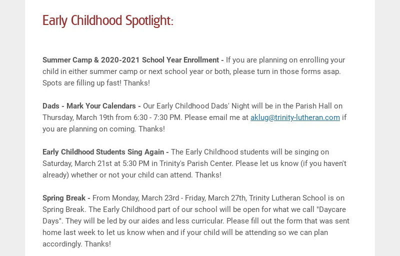 Early Childhood Spotlight: Summer Camp & 2020-2021 School Year Enrollment - If you are planning...