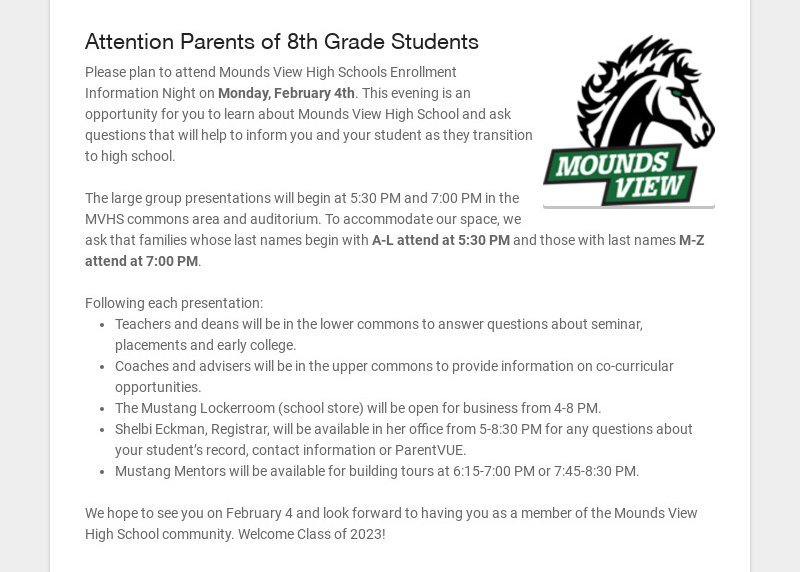 Attention Parents of 8th Grade Students