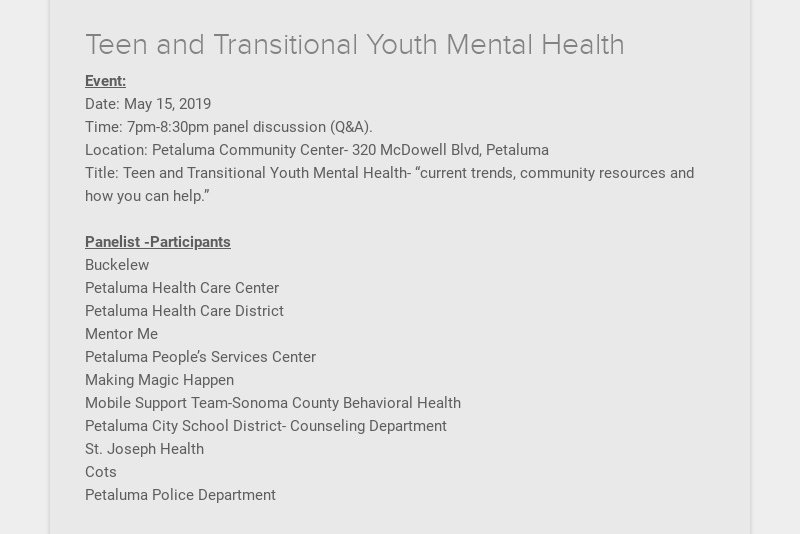 Teen and Transitional Youth Mental Health Event: Date: May 15, 2019 Time: 7pm-8:30pm panel...