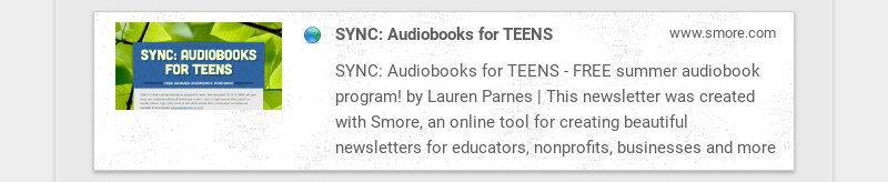 SYNC: Audiobooks for TEENS www.smore.com SYNC: Audiobooks for TEENS - FREE summer audiobook...