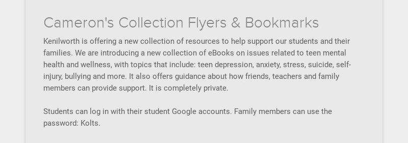 Cameron's Collection Flyers & Bookmarks Kenilworth is offering a new collection of resources to...