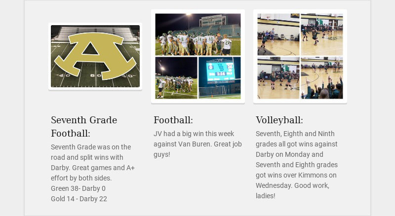 Seventh Grade Football: Seventh Grade was on the road and split wins with Darby. Great games and...
