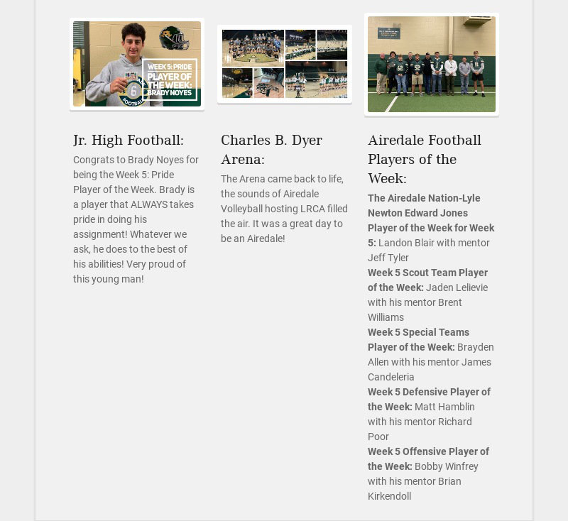Jr. High Football: Congrats to Brady Noyes for being the Week 5: Pride Player of the Week. Brady...