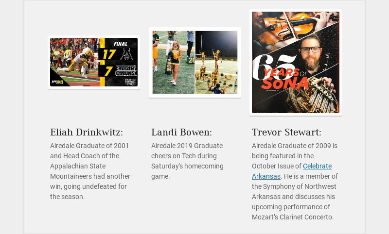 Eliah Drinkwitz: Airedale Graduate of 2001 and Head Coach of the Appalachian State Mountaineers...