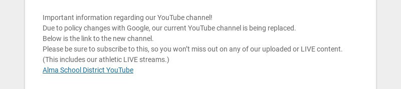 Important information regarding our YouTube channel!