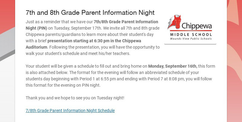 7th and 8th Grade Parent Information Night
