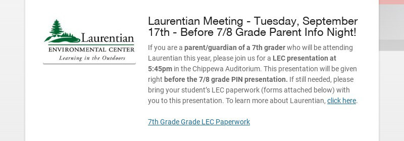 Laurentian Meeting - Tuesday, September 17th - Before 7/8 Grade Parent Info Night!