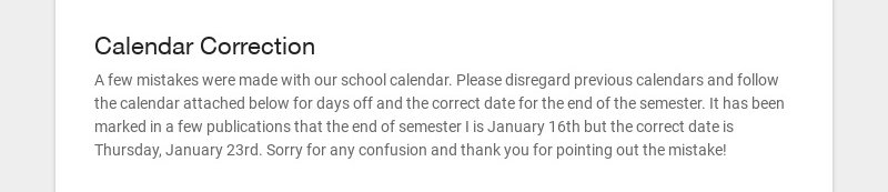 Calendar Correction