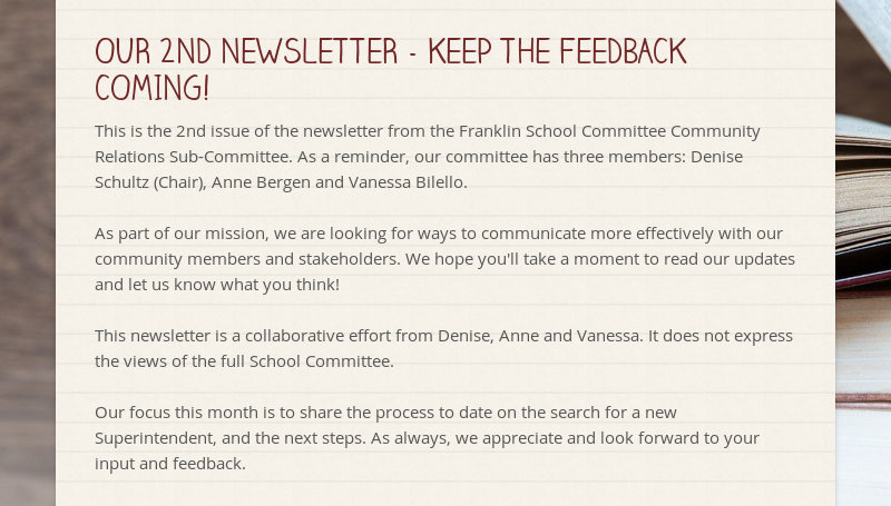 OUR 2ND NEWSLETTER - KEEP THE FEEDBACK COMING!  This is the 2nd issue of the newsletter from the...